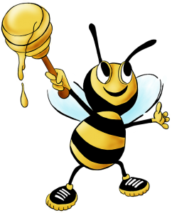 Smiling bee holding honey comb-your-health-and-honey